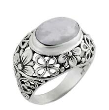 Artisan Crafted 925 STERLING SILVER Rainbow Moonstone Ring from Bali Size 6