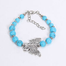 New Silver With Blue Turquoise Bead Inlay Butterfly Alloy Adjustable Braacelet
