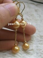 Stunning AAA+ 8-9mm genuine natural  gold south sea  pearl earrings 14k gold