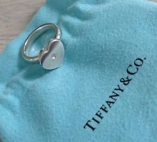 Tiffany & Co Silver Diamond Modern Heart Ring Size 5 Authentic NEW