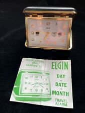 New ListingVintage Elgin Analog Travel Alarm Clock w/Original Manual & w/Date & Month—Works