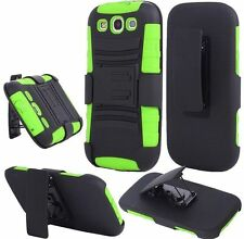 For Samsung S3 i9300 Side Stand With Holster - Black+Neon Green
