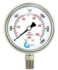 "2-1/2"" Pressure Gauge, Stainless Steel Case, Liquid Filled, Lower Mnt 1500 PSI"
