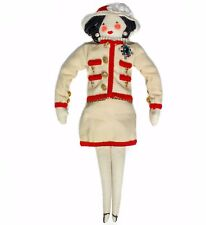 CHANEL DOLL - RARE XL PLUSH FIGURE WOMAN WITH WHITE RED PEARL SUIT JACKET BAG