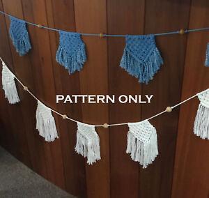 DIY Macrame BUNTING FLAG *PATTERN* Art/Weave/Baby Room/Wall Decor/Rope/Cord/Boho