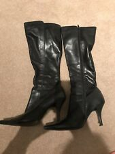 Dune Black Leather Boots Size 5