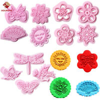4Pcs Plastic Baking Biscuit Cookie Cutter Mold Set 4Styles Embosser Cake Mould
