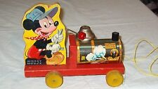 ***VINTAGE 1949 FISHER PRICE MICKEY MOUSE CHOO CHOO PULL TOY***