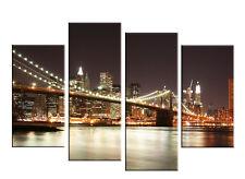 "A0 size 51""x33"" NEW YORK NIGHT BROOKLYN BRIDGE CANVAS ART 4 PANEL MULTI  FY09"