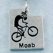 Mountain Biking Kokopelli  Moab Utah Hand Crafted Sterling Silver Necklace, Bike
