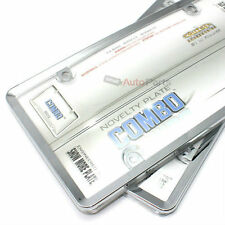 2 Chrome Plastic License Plate Tag Frames + Clear Shield Cover for Car-Truck
