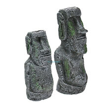 2× Easter Island Statues Aquarium Decorations Ancient Ruins Tank Aquascape Decor