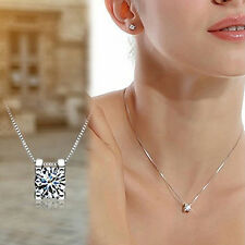 Women Cubic Zirconia Pendant Silver Plated Drop for Necklace Chain Gift Utility
