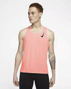 Nike Men Aeroswift Singlet Running Coral Peach Tank Top CJ7835-854 Small $70