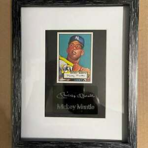 Mickey Mantle Yankees MLB 8x10 Glass Frame Laser Etched Auto Engraved w/ Card