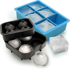 1x Ice Cube Tray 6 XL Jumbo Cube & 1x Silicone 4 Ice Ball Maker Mould Whiskey