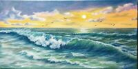 "Art20""/10""oil painting, beautiful sunset on the ocean, Seascape, landscape,surf"