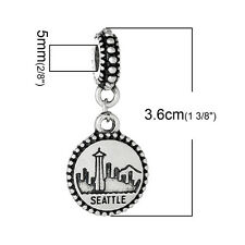 """Seattle"" Charm Bead Spacer for snake chain charm bracelets 2681"
