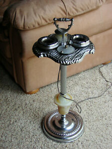 "Vintage 28"" Art Deco Slag Glass Smoking Stand Electric Lighter"