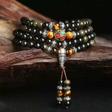 Natural Gold Obsidian Stone Bracelet/(108 Beads)/FREE P&P/UK STOCK
