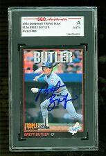 Brett Butler Autographed 1993 Donruss Triple Play Card #136 Dodgers SGC Slabbed