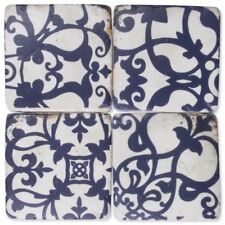 Blue Patterned Drink Table Coasters Set of 4 - Resin Stone Ceramic Cork Base
