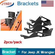 2X LED Work Light Double A-Pillar Mount Brackets For Jeep Wrangler JK 2007-2018