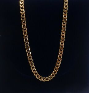 Curb Chain SOLID 375 (9ct) Yellow Gold - Length 22in (56cm) - 16.2 grams