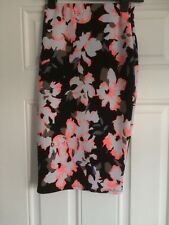 Black Floral Straight Skirt, New Look, Size 8, New