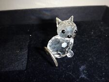 Vintage Glass Swarovski Crystal Cat Metal Tail Signed