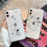For iPhone 11 Pro Max 8 XS XR X 7 Astronaut Shockproof Clear TPU Soft Case Cover