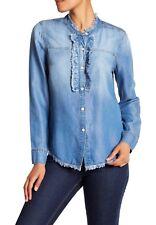 Splendid Indigo Ruffle Chambray Nordstrom Shirt Size L New $138 Top