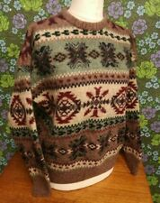 Mens Vintage LANDS END Fairisle Knitted Wool Pullover/ Jumper Sz XL -small hole