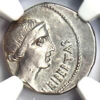 Roman Brutus AR Denarius Silver Coin 42 BC - Certified NGC Choice XF (EF)