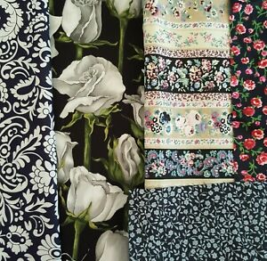 Fabric remnants Floral fabric x 5 dark colour pieces bundle craftroom clearout