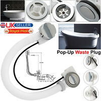 Concealed Bath Overflow Waste Pop-Up Plug & Twist Chrome Handle and Plastic Pipe