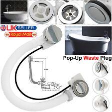 Concealed Bath Overflow Waste Pop-Up Plug & Twist Chrome Handle and Plastic Pipe