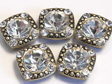 5 - 2 HOLE SLIDER OR SPACER BEADS 8mm & 2mm CLEAR CRYSTALS ANTIQUED GOLD PLATED