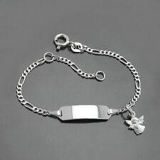 Kinder Armband Herz Schutz Engel Silber 925 mit Gravur von Name und Datum 16 cm