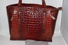 BRAHMIN Paris Croc Embossed Leather Tote / Bag - Pecan - M85 151
