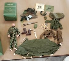 Vintage  GI Joe figure, Combat Man case, tent, clothing, & other accessories.