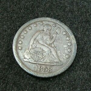 1858 - Liberty Seated Quarter  -  VF