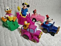 Lot 5 Vtg Disney Pull Back Cars Minnie Goofy Pluto Wind up Mickey Stairs Donald