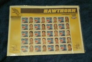 OLD! 20 X 2001 AFL FOOTBALL HAWTHORN STAMPS IN SHEET! PRELIMINARY FINAL! 100TH!