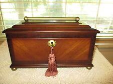 Vtg Bombay Company Men's Jewelry Box Lock & 2 Keys Treasure Chest Valet LG Wood