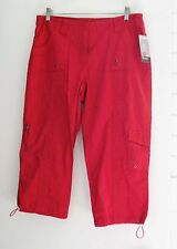 Style&Co. Womens Petite Cargo Capri Pants New Red Amore Sz 16P - NWT