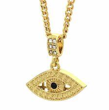 "Mens 14K Gold Plated Black Eye Pendant Hip-Hop 3mm 27"" Cuban Chain High Fashion"
