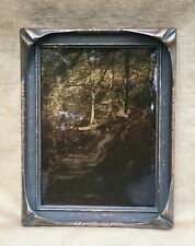 Antique Arts & Crafts 'Pie Crust' Picture Frame and Sepia Photograph