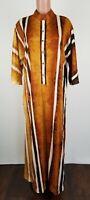 Vtg 1960s Dela Ann Loungewear Burnt Orange Disco size Large Tall House Dress