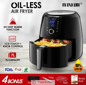 1800W 7L Air Fryer 80-200℃ Low Oil LCD Health Cooker Rapid Deep Frying Black
